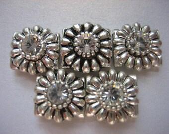 10 Piece, Swarovski Crystal Slider, Spacer, Finding, Flower, Clear, Fancy, Silver Tone, Pewter