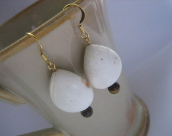 Beaded Earrings, Wire Wrapped, Tiger's Eye, White, Teardrop, Brown, Gold, Chunky, Bold, Cafe, Earthy, Unique, Stone, Grand, Natural, Tan