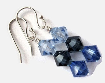 Swarovski Crystal Earrings, 6mm, Wire Wrapped, Blue, Navy, Sapphire, September, Light, Montana Blue, Ocean, Waves, Water, Midnight