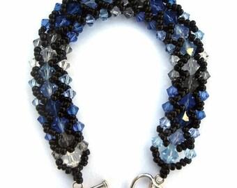 Swarovski Crystal Bracelet, Seed Bead, Blue, Variegated, Black, Sapphire, Capri Blue, Black Diamond, Clear, Jet, Aqua, Light Sapphire, Ombre