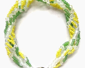 Seed Bead Bracelet, Swarovski Crystal, Bangle, Green, Gold. Yellow, Lime, Clear, White, Spiral, Bright, Lemon, Summer, Green Bay Packers
