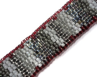 Seed Bead Bracelet, Peyote Stitch, Delica, Stripes, Red, Maroon, Crimson, Grey, Gray, Silver, Missoni Inspired, Metallic, Burgandy, Beaded