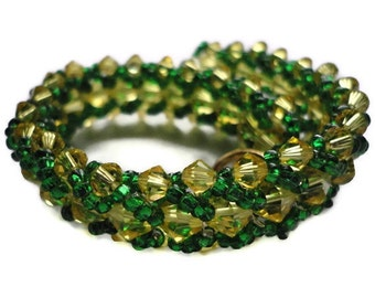 Swarovski Crystal Bracelet, Seed Bead, Green, Gold, Light Topaz, Yellow, NFL, Green Bay, Football, Irish, St Patricks Day, Beaded, Packers