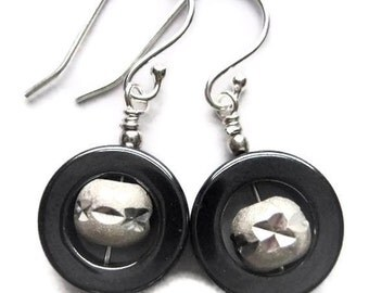 Beaded Earrings, Sterling Silver, Wire Wrapped, Hematite, Circle, Round, Etched, Carved, Mineral, Gray, Dangle, Modern, Window, Grey, Black