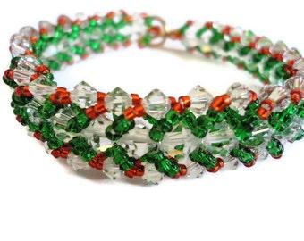 Swarovski Crystal Bracelet, Seed Bead, Poinsettia, Holiday, Christmas, Green, Red, Emerald, Crimson, Clear, Sparkle, Beaded, Kelly