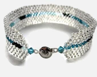 Seed Bead Bracelet, Peyote Stitch, Delica, Stripe, Wide, Silver, Teal, Turquoise, Aqua, Blue, Beaded, Wedding, Clear, Translucent, Tiffany