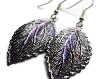 """Metal Earrings, Leaf, Dipped, Sparkle, Glitter, 2"""", Fall, Autumn, Purple, Lavender, Silver, Pewter, Painted, Glaze, Soft, Leaves, Royalty"""