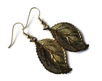 """Leaf Earrings, Metallic, Dipped, Sparkle, 2"""", Autumn, Fall, Gold, Metal, Painted, Glazed, Leaves, Nature, Bling, Shiny, Metallic, Warm"""