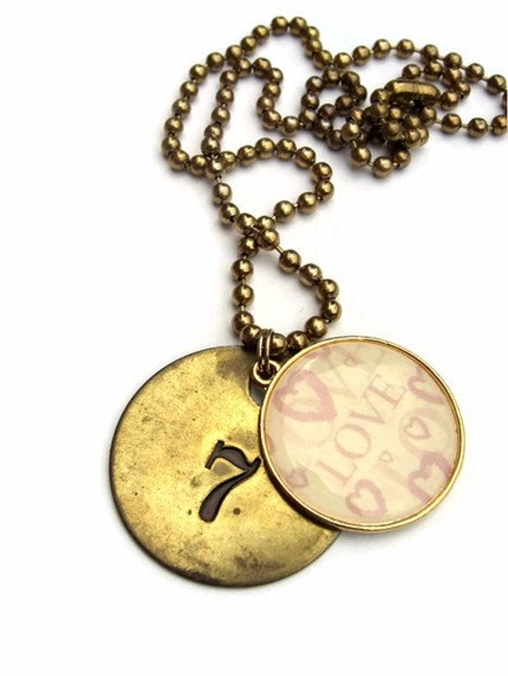 metal necklace sted pendant number 7 charm lucky by