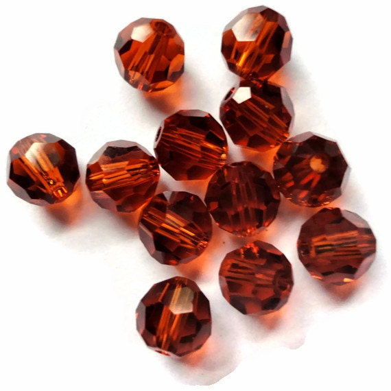 Swarovski Crystal Beads, Round, 5000, 4mm, Indian Red, 12 Pieces, New, Sphere, Circle, Fall, Autumn, Burnt Orange, Earthy, Austria