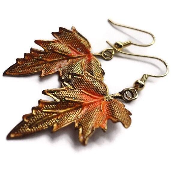 "Leaf Earrings, Metal, Dipped, Sparkle, Glitter, 2"", Neon, Autumn, Fall, Gold, Orange"