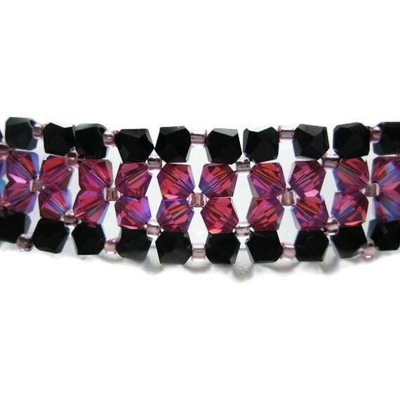 Swarovski Crystal Bracelet, Right Angle Weave, Seed Bead, Delica, Fuchsia, 2X AB, Jet,  Black, Hot Pink, Edged, Love, Valentines Day, Beaded