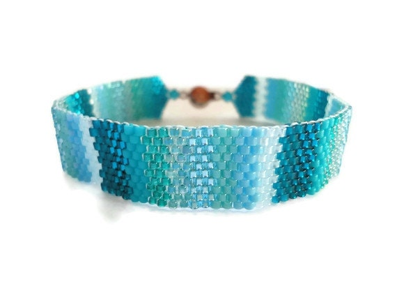Seed Bead Bracelet, Peyote Stitch, Delica, Stripes, Turqouise, Teal, Blue, Ombré, Progression, Variegated, Tropical, Water