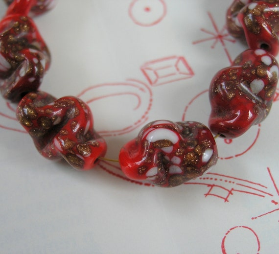 Red and White Venetian glass beads