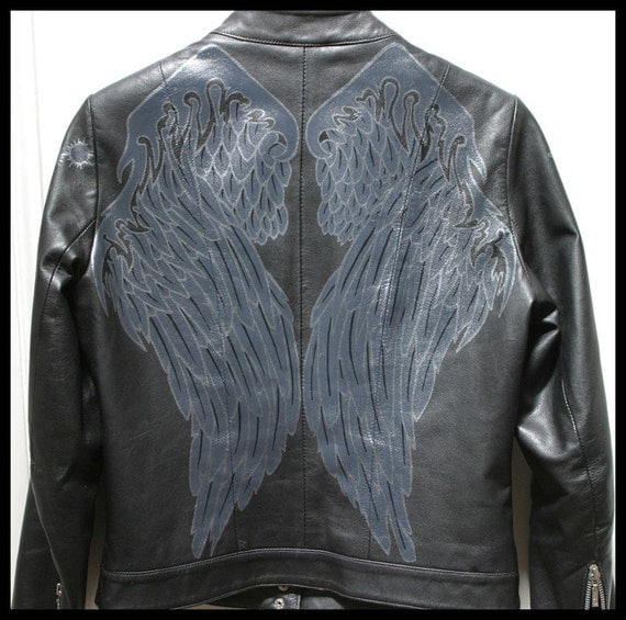 Scifi Dark Angel Raven Wings Hand Painted Leather Jacket