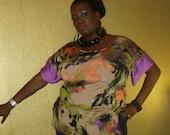 Yenya - Posh N Petal Knit  Purple Floral Abstract Blouse With Silk Trim - X- Large  - 1X Plus Size