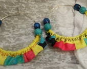 Social Circles Ethnic Piecework Neon Yellow Blue Pink Fabric Silver Hoop Earrings by Posh n' Petals