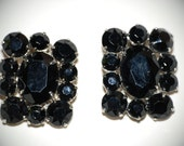 Jet Black Glass Vintage Clip Earrings for Wedding or Evening Formal    FREE SHIPPING