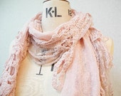 The Crinkle Cotton with Lace and Crochet Trimming Scarf, Pink Color with small white dots