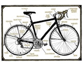 Bicycle Diagram - 9x12 Print