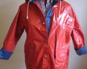 Vintage Red and Blue Reversible Vinyl Rain Coat