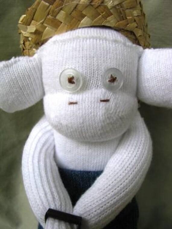 "Mini White Sock Monkey-""Jack the Farmer"""