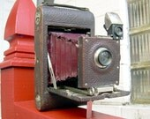 Antique KODAK No.3 Model C - RED Bellows Folding Camera w/ Leather Case - Working - Ca.1898 - Beautiful