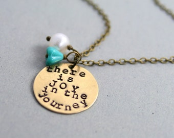 There is Joy in the Journey Necklace - Inspirational Quote Necklace - Antique Brass and Freshwater Pearl - LDS Christian Necklace