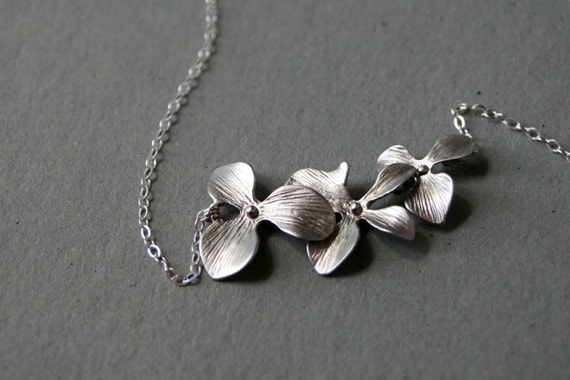 Silver Orchid Necklace