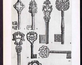 Interesting Lithograph Of Roman & Medieval Locks 1930