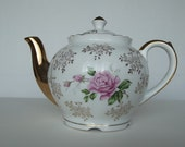 Japanese Ceramic Teapot with Gold Trim and Roses///Sale/Reduced Shipping