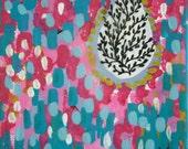 Rain Drops - mini original mixed media painting