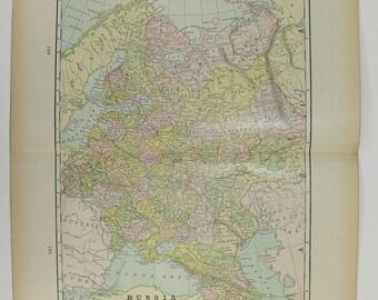 1898 Antique Map of Russia, Greece Map Turkey Balkans Map Sweden Norway Map, Wedding Decor Prop, History Gift, Russian Decor Art Map