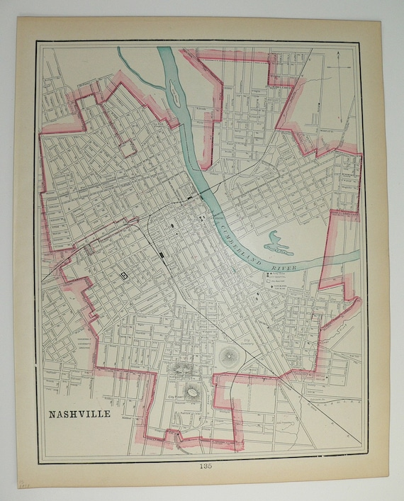 Antique 1898 City Street Map of Nashville and Memphis Tennessee