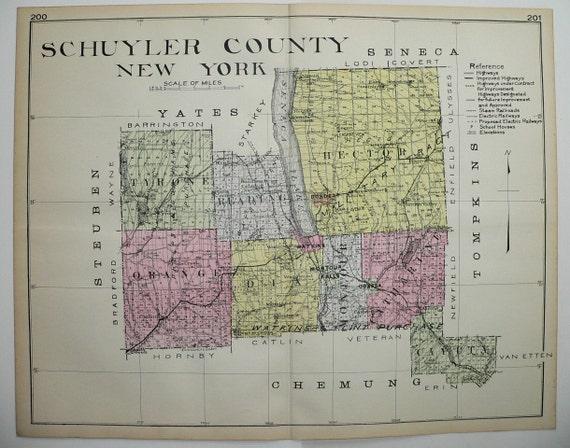 Schuyler County New York NY Big 1912 Antique Map Watkins Glen