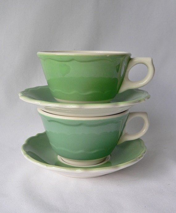 Vintage Mint Spearmint Green Syracuse China Coffee Cups and Saucers Restaurant Ware Animal Shelter Rescue Charity Benefit