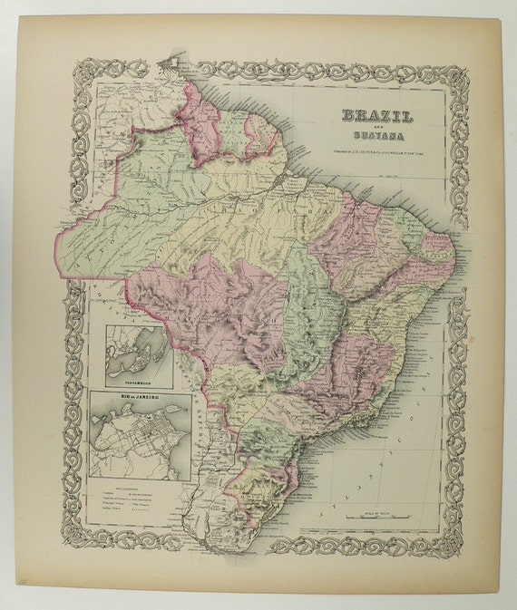 1800s South America Map Brazil Guiana Map 1856 Colton Map, Original Antique Art Map, Latin America Map Gift, Pastel Map, Wedding Gift
