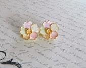 FREE SHIP Vintage Pastel Clip Back Flower Earrings