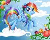Rainbow Dash My Little Pony Friendship is Magic fan art 8.5 x 11 print