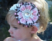 Baby flower hairbow clip and headband  pink and brown