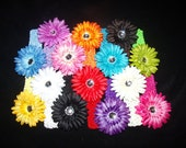 Lot of 28 Pieces..14 Large Daisy Flower Clips and 14 Crochet Headbands..Great hairbow for Infant Toddler and Big Girl Wear