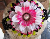 Flower Clip...Lime..Grey...White...Hot Pink.....So HiP FlOwEr CliP.....Interchangeable Flower Clip With FREE Matching Headband