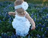 Baby girl white hairbow flower clip and headband