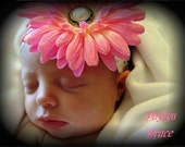 Hairbow flower clip and matching headband Light Pink