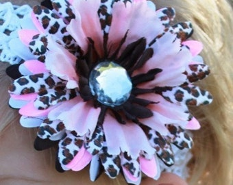 Cheetah print hairbow flower clip and headband