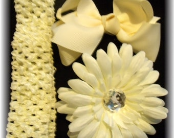 CREAM Dazzle Your Princess Flower..Bow..Headband Set