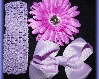 Baby hair clip headband set Lavender