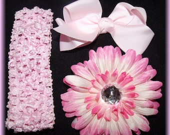 PINK Dazzle Your Princess Flower..Bow..Headband Set