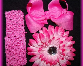 HOT PINK Dazzle Your Princess Flower..Bow..Headband Set