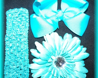 TURQUISE Dazzle Your Princess Flower..Bow..Headband Set